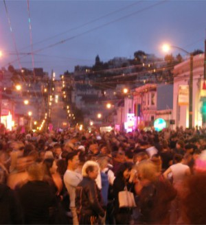 Castro street party at night