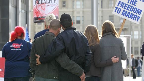 LGBT San Francisco Couple Embrace