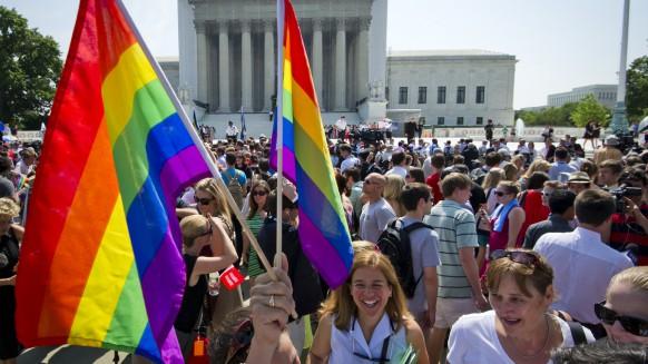 Gay pride flags at gay pride rally