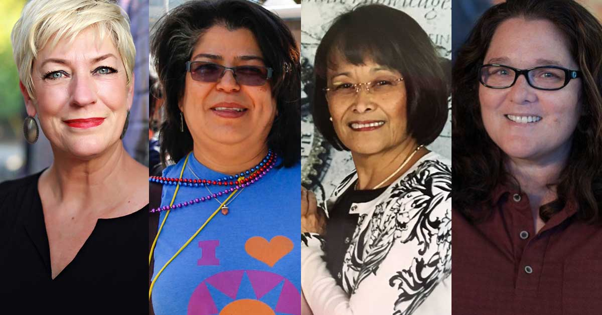 photos of Sara Cunningham, Belinda Dronkers-Laureta, Mirna Medina, and Kimberly Aceves-Iñiguez