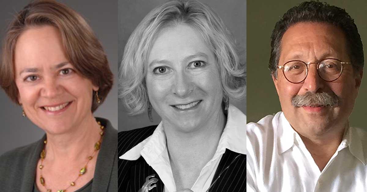 Photo of Stacey Shuster, Ph.D., Linda Scaparotti, Esq., and Frederick Hertz, Esq.
