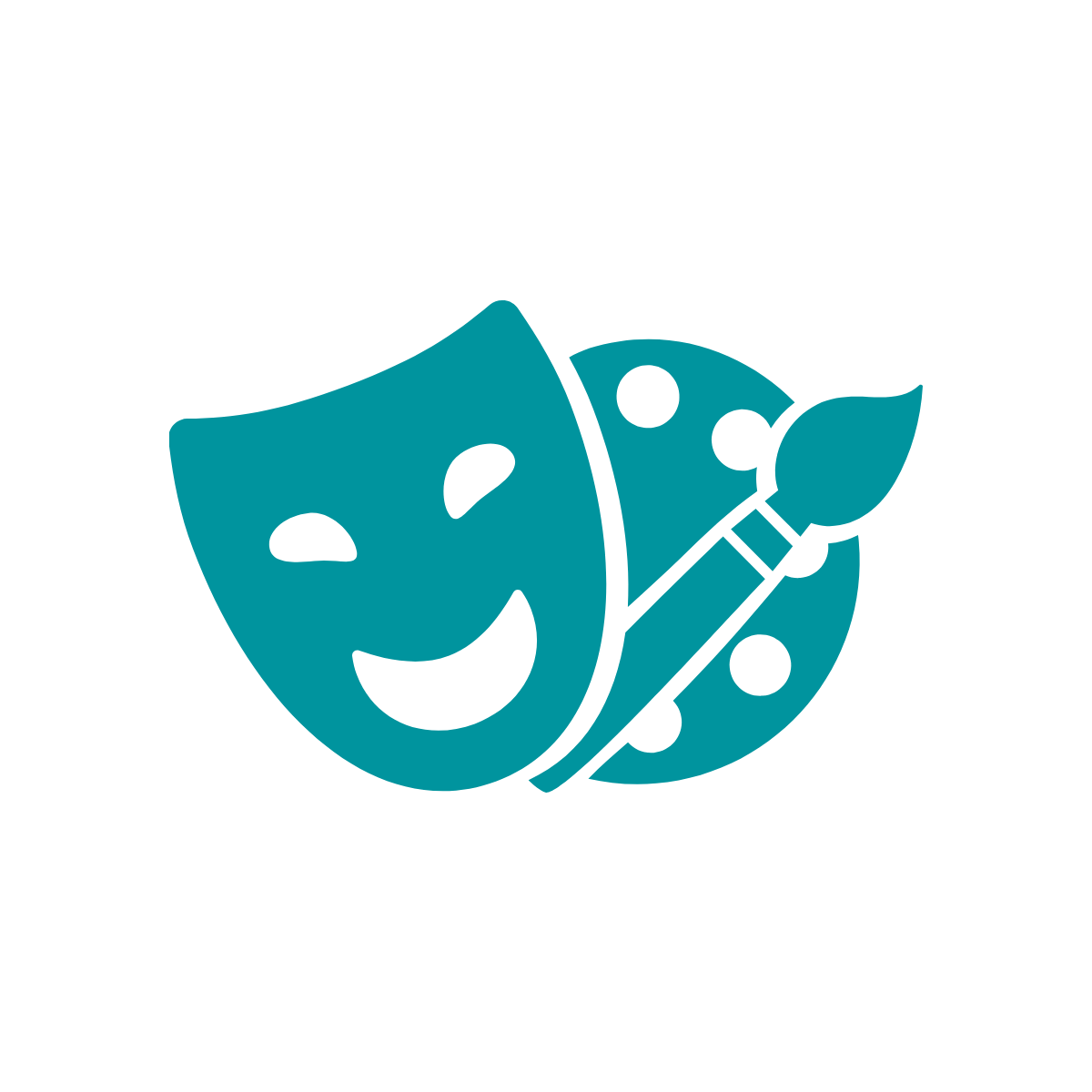 Theatre mask and paint palette icon