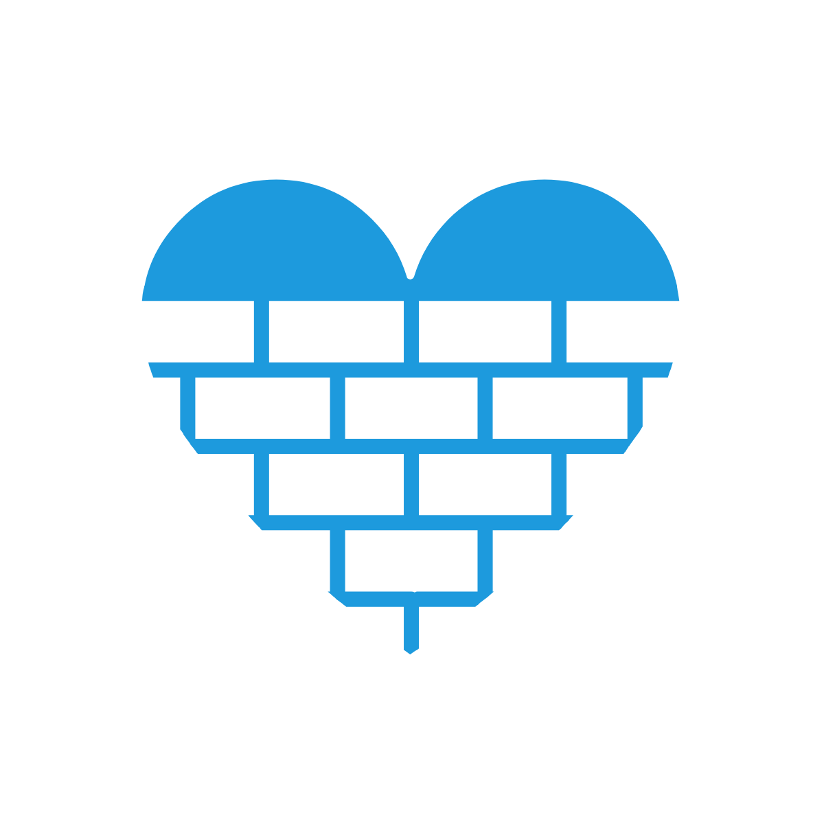 Icon of heart made out of bricks