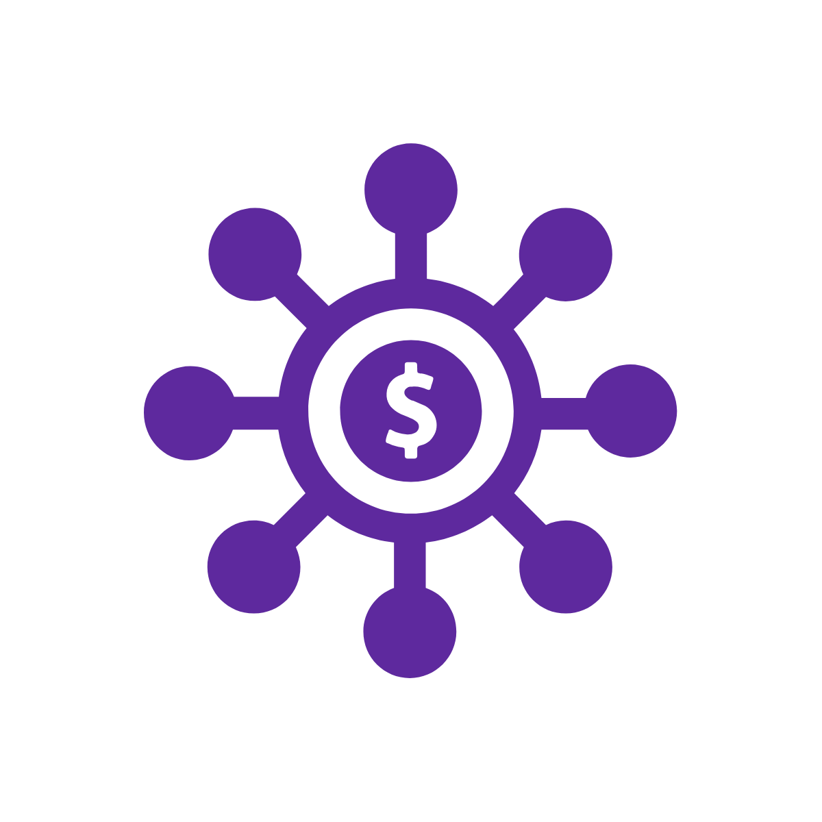 Icon of dollar sign with circles connected to it