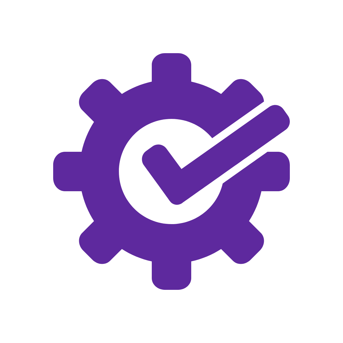 Icon of gear with checkmark