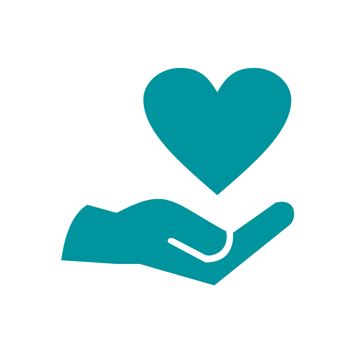 Icon of hand holding heart