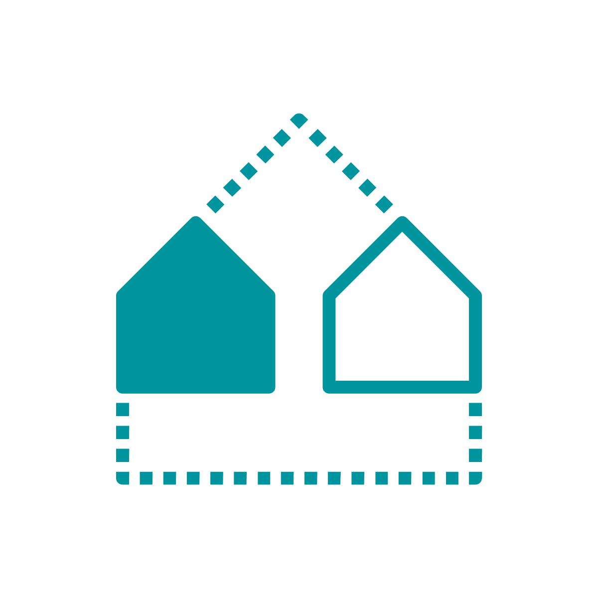 Icon of two houses forming a larger house