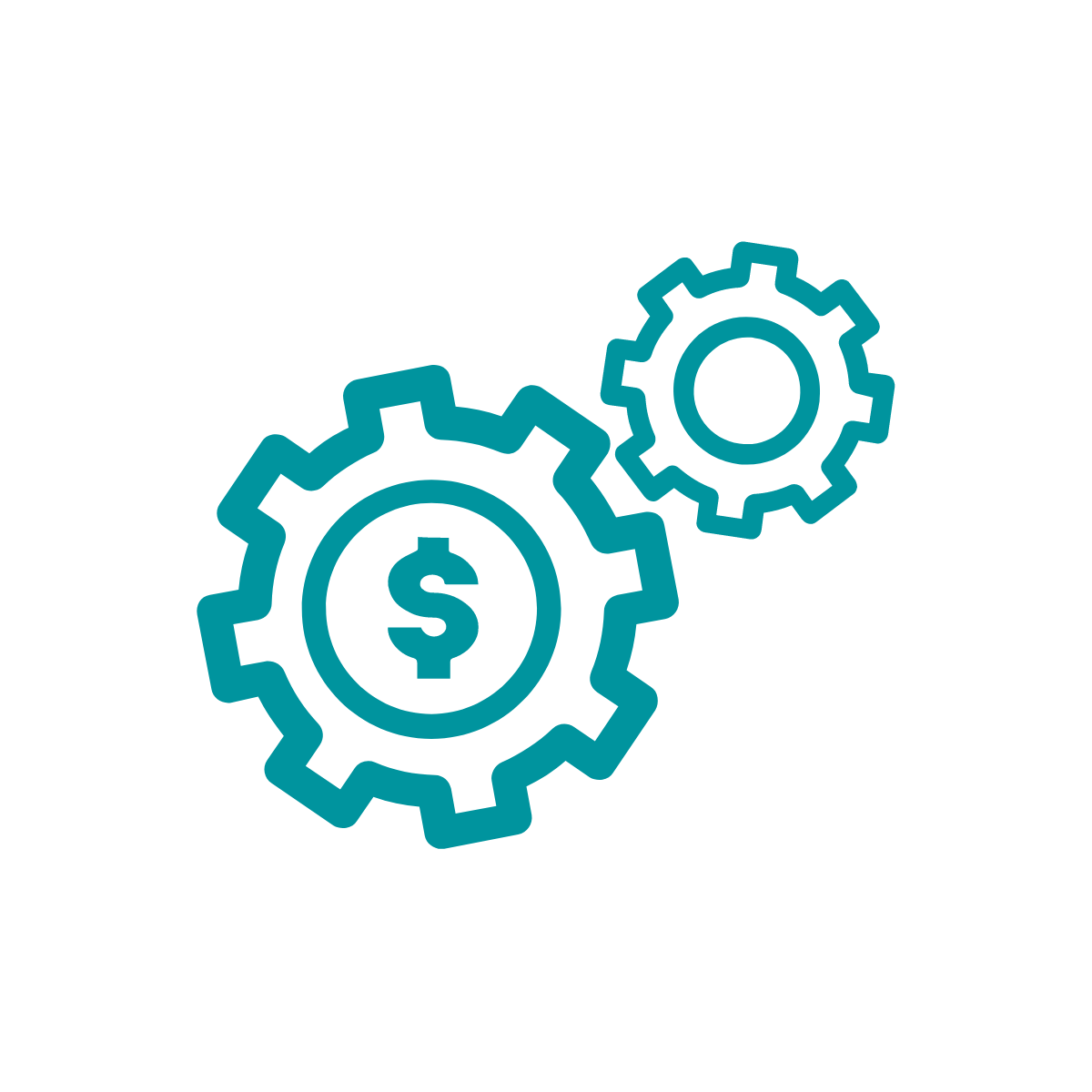 Icon of two gears turning, one with a dollar sign inside it