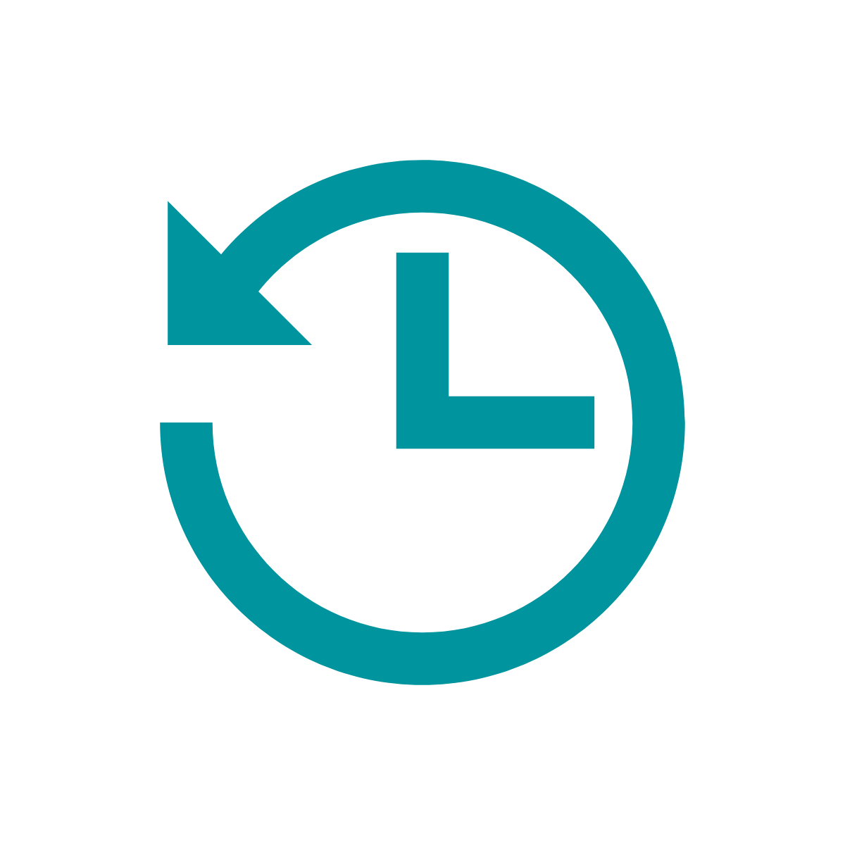 Icon of clock with arrow pointing backwards