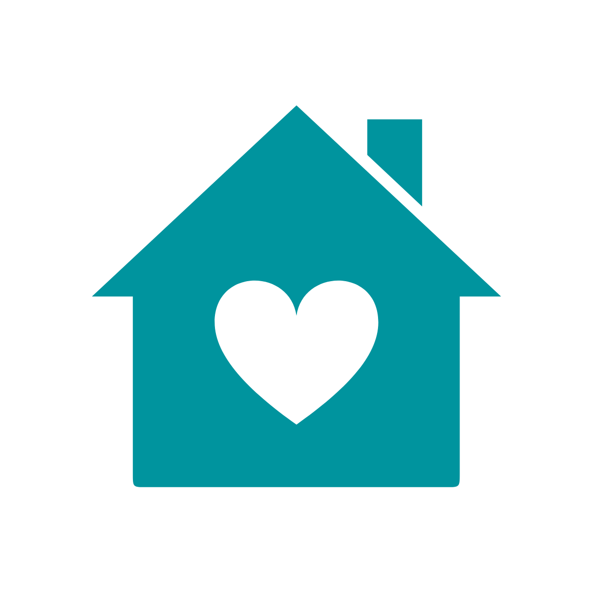Icon of home with heart inside it