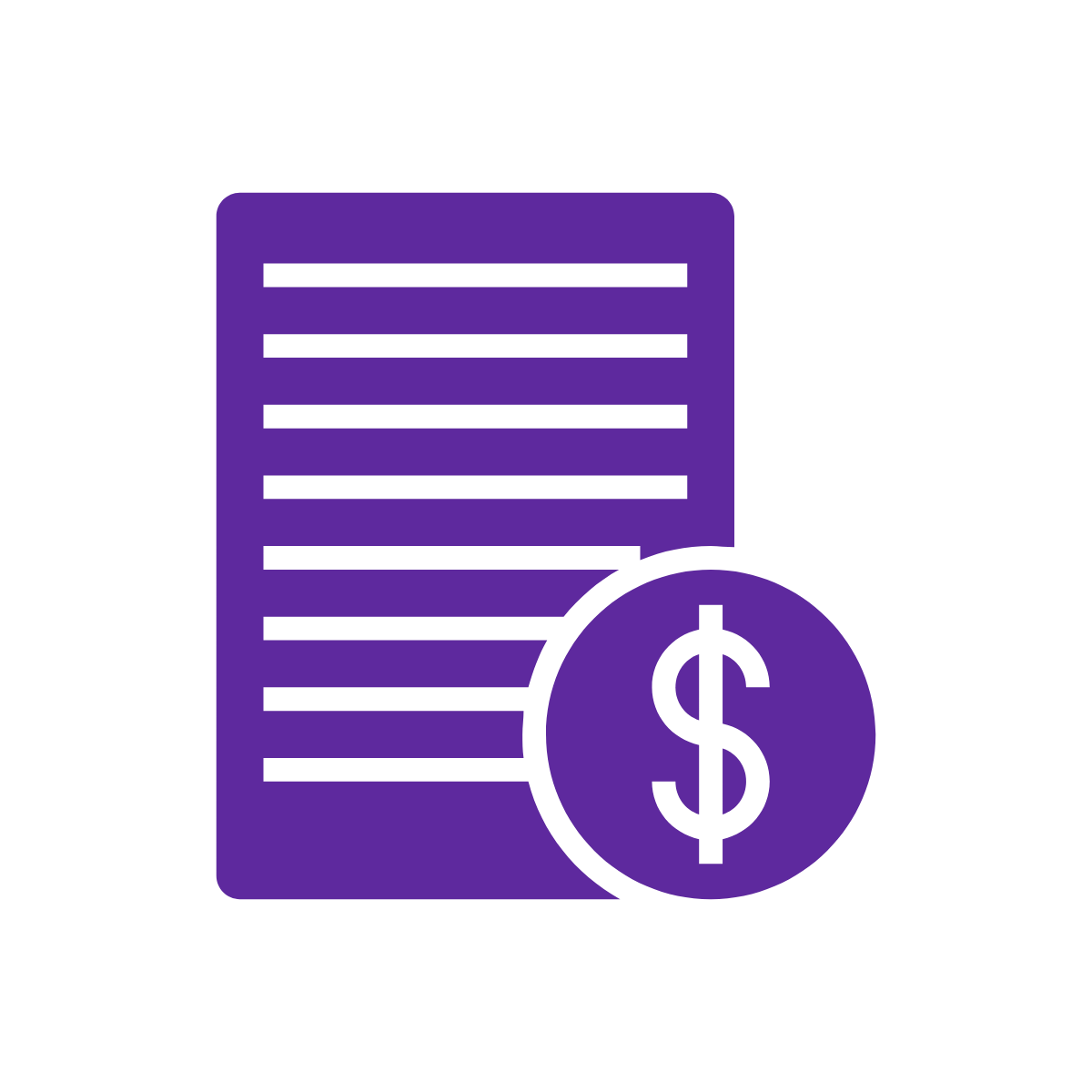 Icon of document with dollar sign