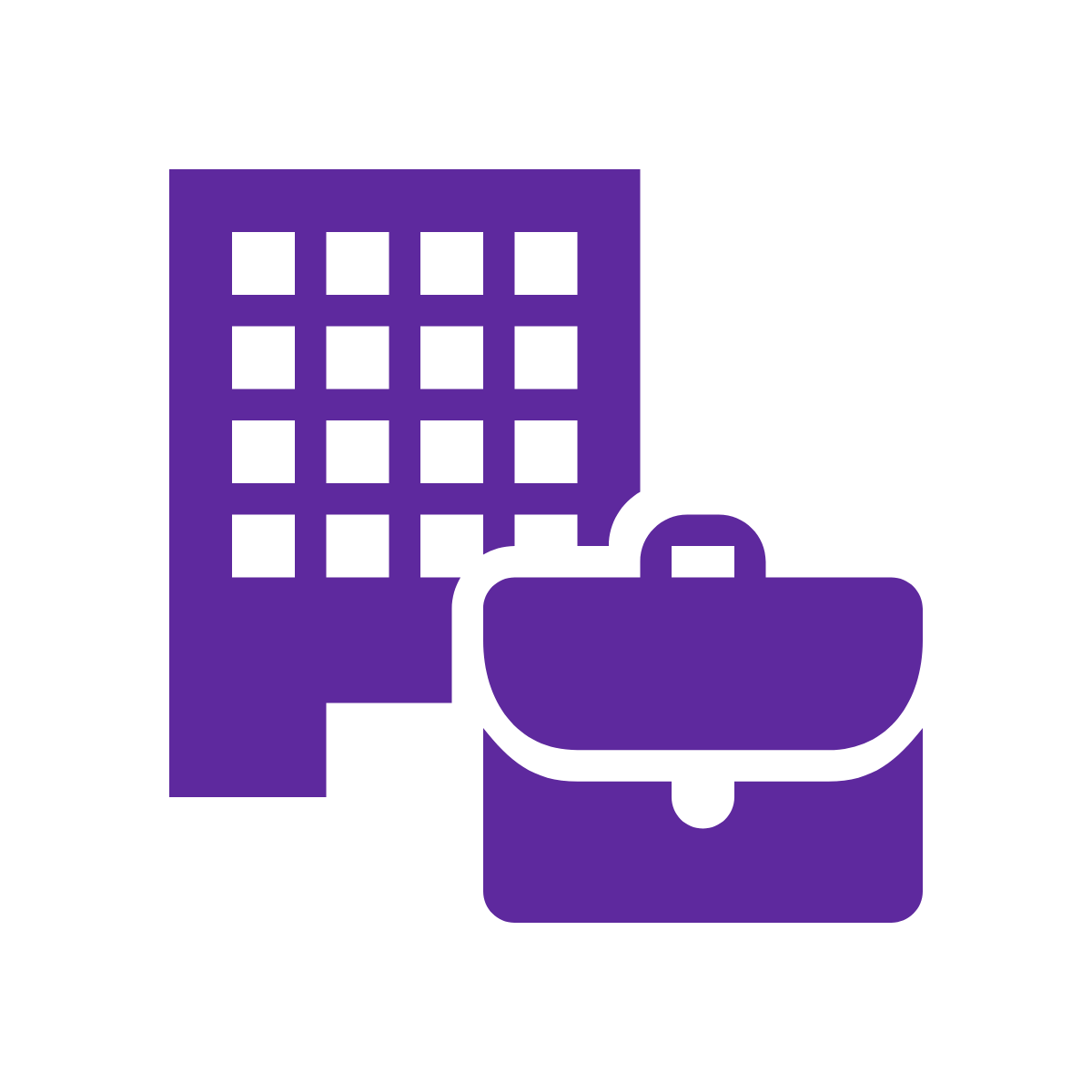 Icon of building and briefcase