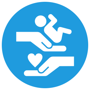 Baby, hands, and heart icon
