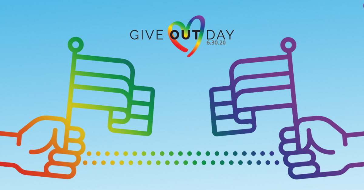 Give OUT Day logo with hands holding Pride flags