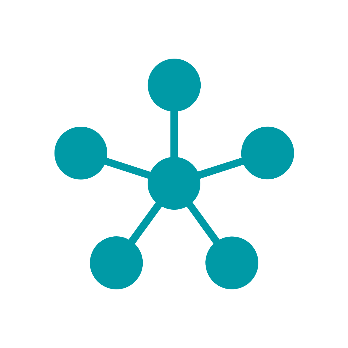 Green icon of connected dots in a network