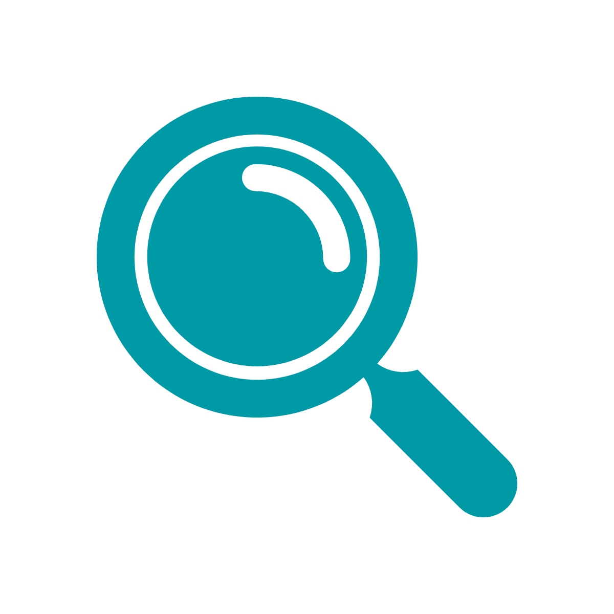 Green icon of magnifying glass