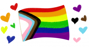 All-inclusive pride flag with illustrated hearts of the flag's colors.
