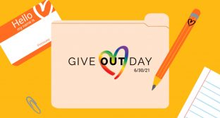 Give OUT Day logo alongside illustration of folder, nametag, paper, pencil, and paperclip