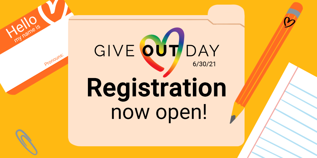 """Give OUT Day logo alongside illustration of folder, nametag, paper, pencil, and paperclip, with text """"Registration now open!"""""""