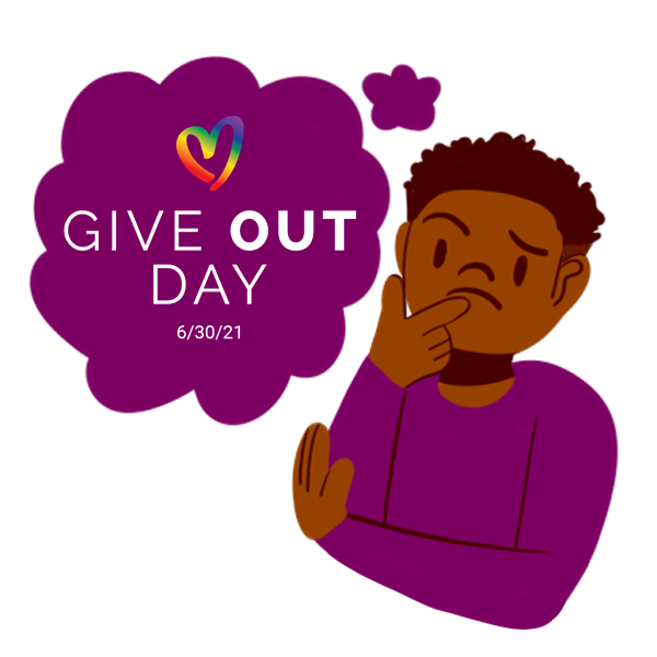 Illustration of individual thinking about Give OUT Day