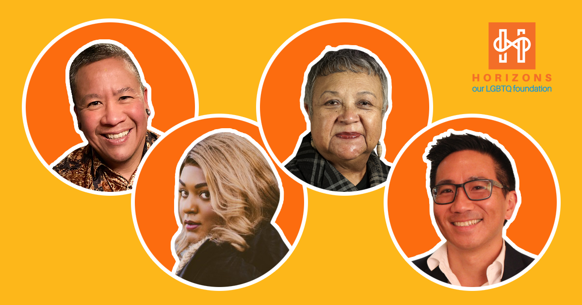 A yellow background with four orange circles, each of which have the headshot of a panelist from the event. Horizons logo in the top right corner.