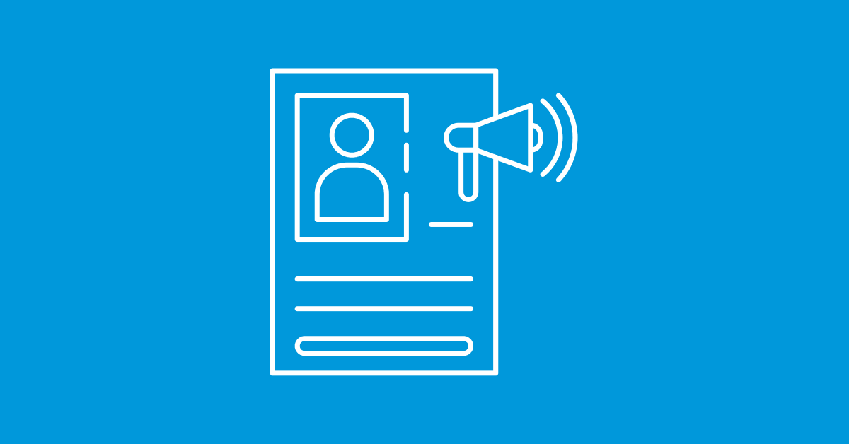 A blue background with a white job listing and megaphone illustration