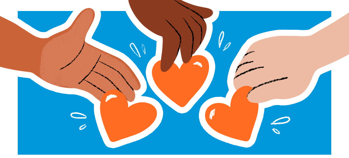 A blue background with an illustration of three hands offering up orange hearts, with the Horizons logo at the bottom