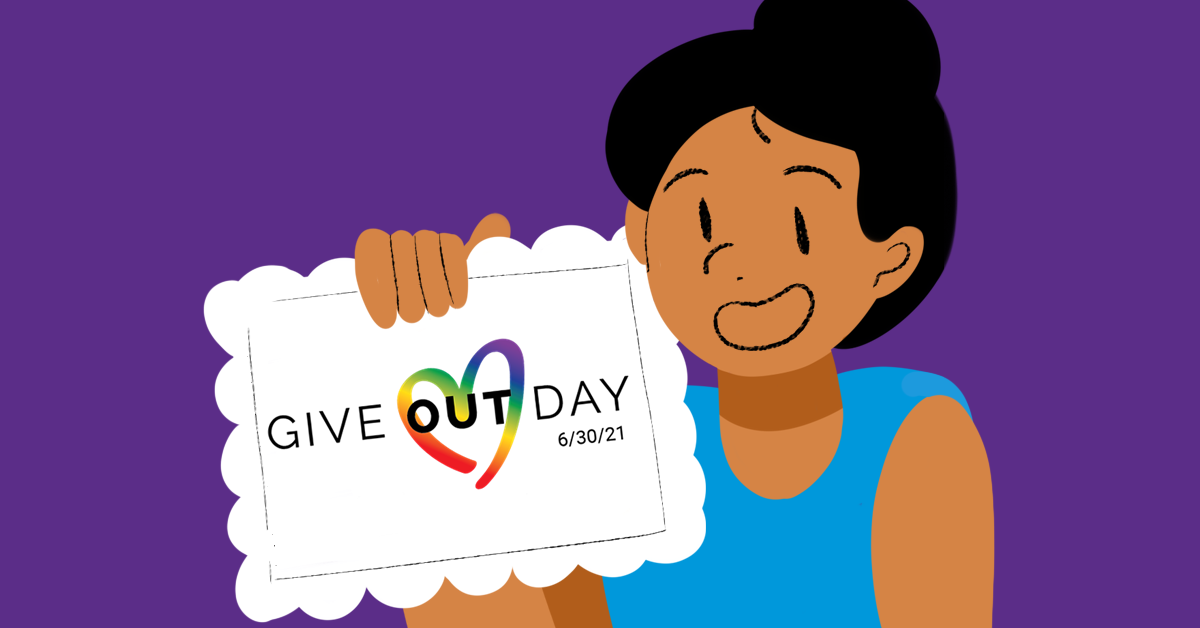 Person holding Give OUT Day paper
