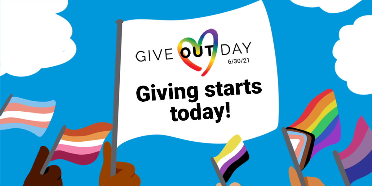 """A white flag with the Give OUT Day logo that says """"Giving starts today!"""" surrounding by a variety of LGBTQ pride flags."""