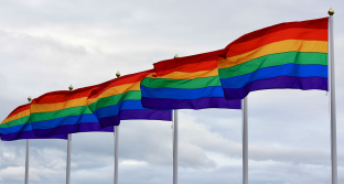 A line of six-striped rainbow flags blowing in the wind